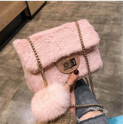 JT5213-pink Tas Selempang Mini Bludru Pom Pom Wanita