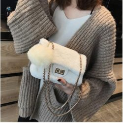 JT5213-white Tas Selempang Mini Bludru Pom Pom Wanita