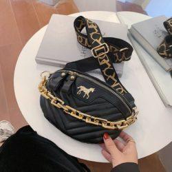 JT5529-black Waist Bag Import Wanita Cantik Tali Rantai Selempang