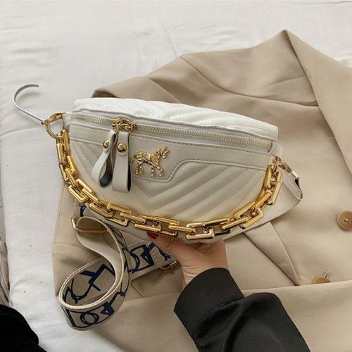 JT5529-white Waist Bag Import Wanita Cantik Tali Rantai Selempang