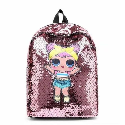 JT558-pink Tas Ransel Sequin Anak (Mata LED) Import