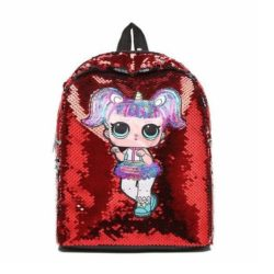 JT558-red Tas Ransel Sequin Anak (Mata LED) Import