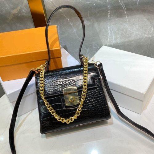 JT56833-black Tas Handbag Tali Selempang Rantai Wanita Elegan