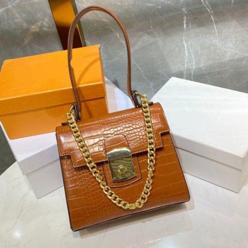 JT56833-brown Tas Handbag Tali Selempang Rantai Wanita Elegan