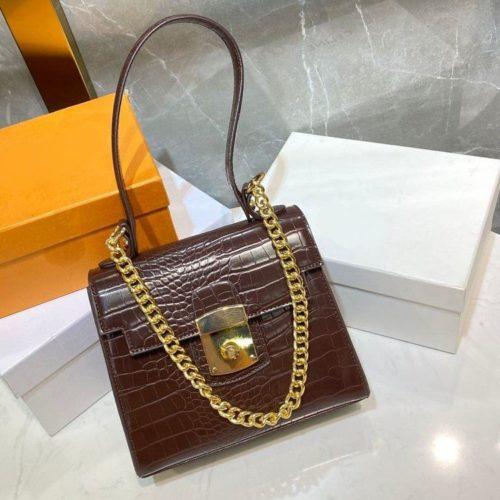 JT56833-coffee Tas Handbag Tali Selempang Rantai Wanita Elegan