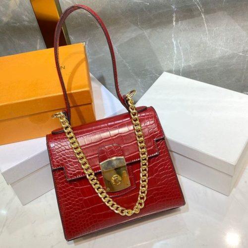 JT56833-red Tas Handbag Tali Selempang Rantai Wanita Elegan