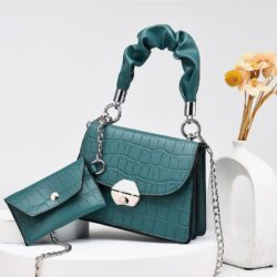 JT60201 (2IN1) IDR.170.000 MATERIAL PU SIZE L19XH14XW8CM, SMALL BAG 12X7CM WEIGHT 550GR COLOR GREEN