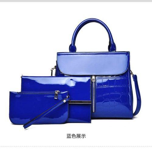 JT6053-blue Tas Handbag Wanita Elegan Set 3in1