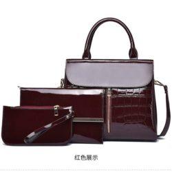 JT6053-red Tas Handbag Wanita Elegan Set 3in1