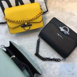 JT61012-black Tas Import Elegan Tali Selempang Rantai