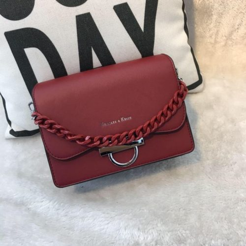 JT61012-red Tas Import Elegan Tali Selempang Rantai