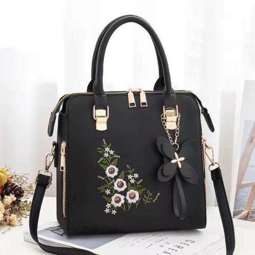 JT61148-black Tas Handbag Selempang Wanita Cantik Motif Bunga