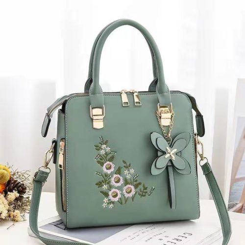 JT61148-green Tas Handbag Selempang Wanita Cantik Motif Bunga