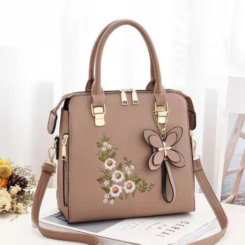 JT61148-khaki Tas Handbag Selempang Wanita Cantik Motif Bunga