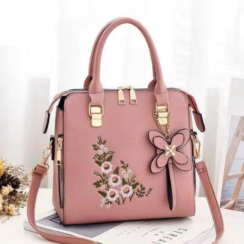 JT61148-pink Tas Handbag Selempang Wanita Cantik Motif Bunga