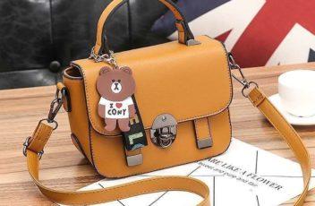 JT6616-brown Tas Selempang Kekinian Gantungan Cony Import