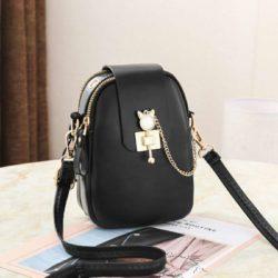 JT68621-black Tas Sling Dompet Handphone Mini Elegan