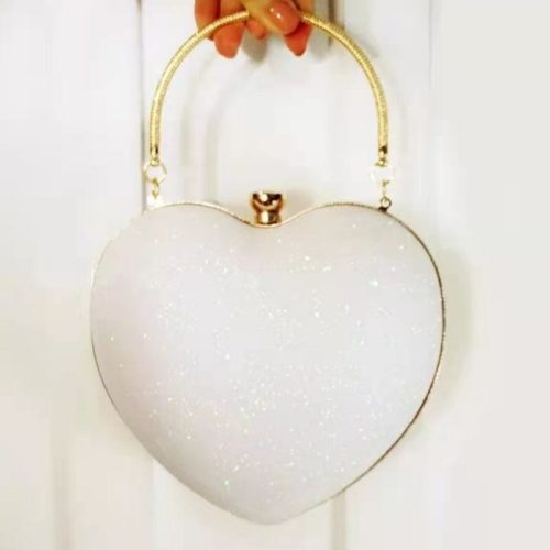 JT70093-white Tas Pesta LOVE Wanita Cantik (Tali Selempang Rantai)