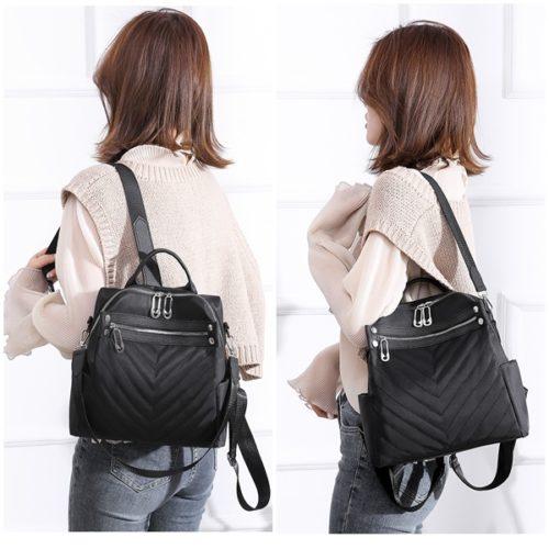 JT7017-black Tas Ransel Fashion Import Bisa Selempang