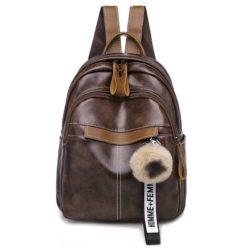 JT7039-brown Tas Ransel Wanita Homme+Femme Pom Pom Import