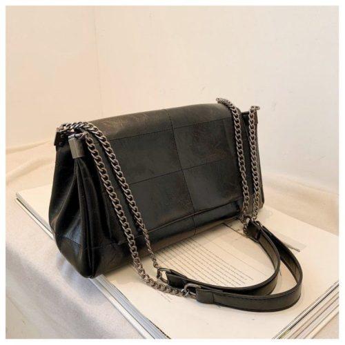 JT71749-black Tas Selempang Tali Rantai Wanita Cantik Import