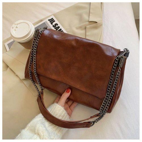 JT71749-brown Tas Selempang Tali Rantai Wanita Cantik Import