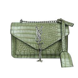 JT7231-green Tas Selempang Wanita Elegan Import Motif Croco