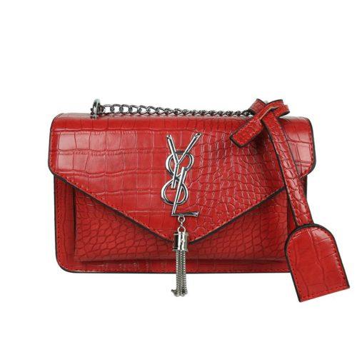 JT7231-red Tas Selempang Wanita Elegan Import Motif Croco