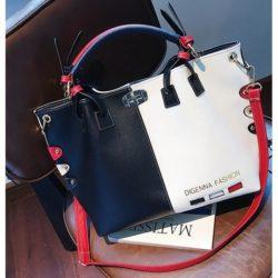 JT7528-blackwhite Tas Handbag Wanita Cantik Elegan Import