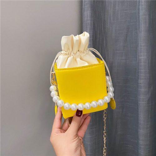 JT7642-yellow Tas Selempang Serut Kubus Mutiara Import Wanita