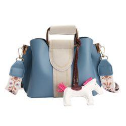JT76543-blue Tas Selempang Cantik Gantungan Pony Import