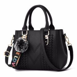 JT77956-black Tas Handbag Selempang Pom Pom Wanita Cantik Import