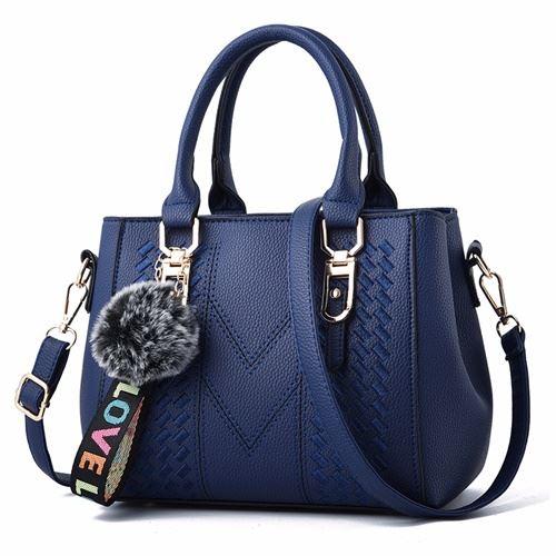 JT77956-blue Tas Handbag Selempang Pom Pom Wanita Cantik Import