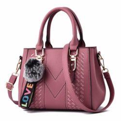 JT77956-darkpink Tas Handbag Selempang Pom Pom Wanita Cantik Import