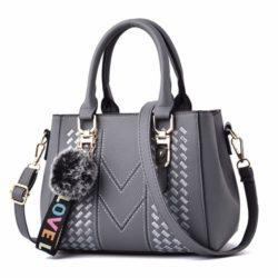 JT77956-gray Tas Handbag Selempang Pom Pom Wanita Cantik Import