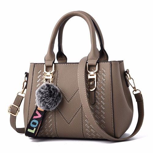 JT77956-khaki Tas Handbag Selempang Pom Pom Wanita Cantik Import