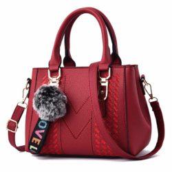 JT77956-red Tas Handbag Selempang Pom Pom Wanita Cantik Import