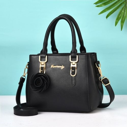 JT78255-black Tas Handbag Elegan Gantungan Rose Import