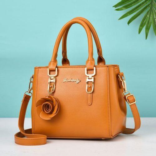 JT78255-brown Tas Handbag Elegan Gantungan Rose Import