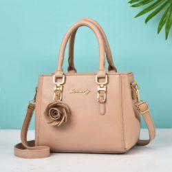 JT78255-khaki Tas Handbag Elegan Gantungan Rose Import