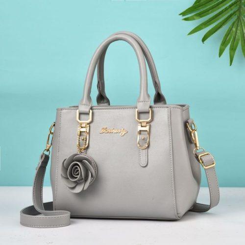 JT78255-lightgray Tas Handbag Elegan Gantungan Rose Import