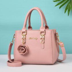 JT78255-lightpink Tas Handbag Elegan Gantungan Rose Import