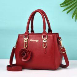 JT78255-red Tas Handbag Elegan Gantungan Rose Import