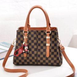 JT80111-brown Tas Selempang Monogram Wanita Elegan Import