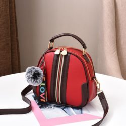 JT80257-red Tas Selempang Pom Pom Cantik Import