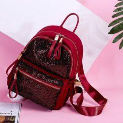 JT813479-redsequin Tas Ransel Stylish Wanita Cantik Import Terbaru