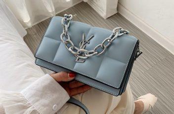 JT8136-blue Tas Selempang Rantai Wanita Elegan Import