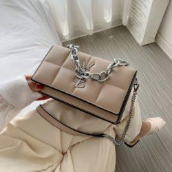 JT8136-khaki Tas Selempang Rantai Wanita Elegan Import