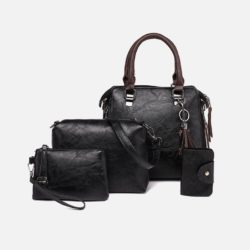 JT819624-black Tas Handbag Selempang Wanita 4in1