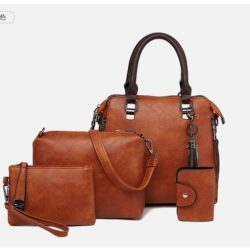 JT819624-brown Tas Handbag Selempang Wanita 4in1